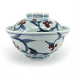 Japanese bowl with blue and white lid with red berries - AKAI BERI