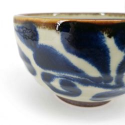 Japanese donburi bowl in beige and blue ceramic - SHIZEN