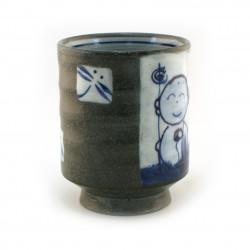 Kleiner japanischer Teller mit blauer Blume - KIKKO