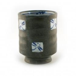 Piatto piccolo in ceramica giapponese con motivi floreali blu - BURUFURORARU