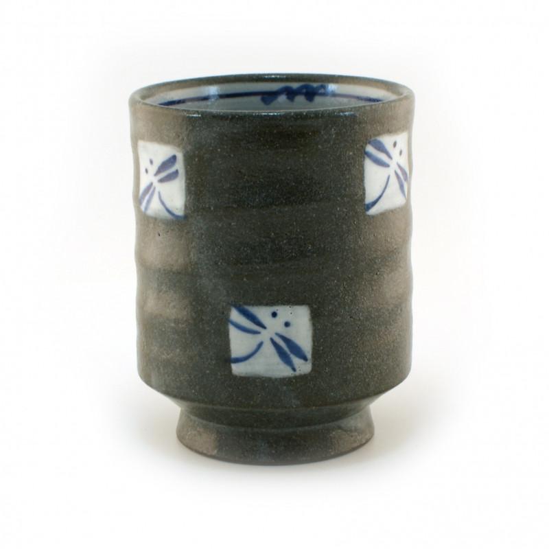 Small Japanese ceramic plate with blue floral patterns - BURUFURORARU