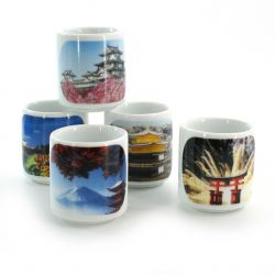 set of 5 traditional Japanese sake cups, FOTO NIHON FÛKEI, scenery