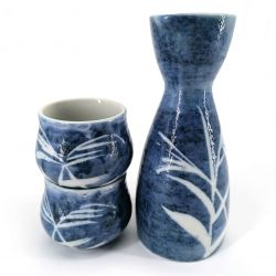 Ceramic sake service, bottle and 2 cups, blue and white - TAKE
