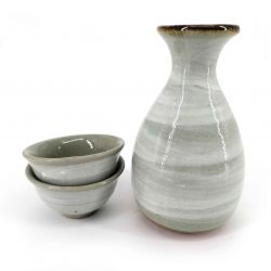 Ceramic sake service, bottle and 2 cups, crackle enamel gray - WARETA