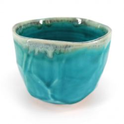 Ceramic bowl for tea ceremony, ocean blue - KAIYO