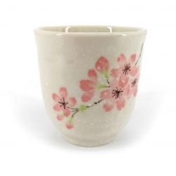 Japanese ceramic tea cup, white and cherry blossoms - SAKURA USAGI