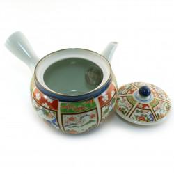 Taza de té de cerámica japonesa, celeste y flores - BURUFURAWA