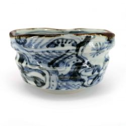 Ceramic bowl for tea ceremony, white with traditional blue patterns - ANSENIKKU