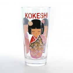 tumbler glass with pictures  COMIC KOKESHI