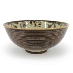 Japanese ceramic rice bowl, brown and beige - GYO