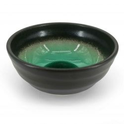Japanese rice bowl in brown raw ceramic, green water enamelled interior - UMI NO MIDORI
