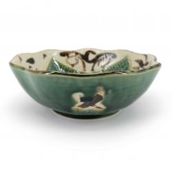 Japanese ceramic container, beige and green - ORIBE