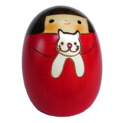 Japanese round mug with lid chawan mushi, white, blue floral pattern - BURUFURORARU