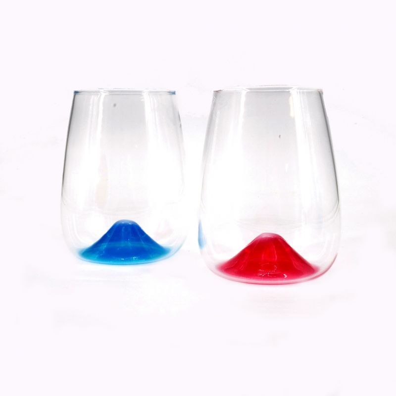 duo of japanese glasses red and blue mt. fuji 43cl FUJISAN