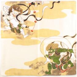 Japanese ceramic ramen bowl, white, large floral patterns - KAHEI