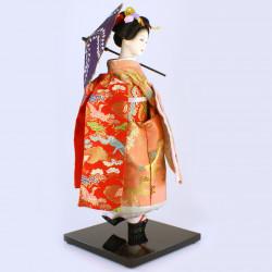 Piatto rotondo in ceramica, marrone con tocchi di blu - MIGAKIMASU