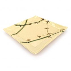 Japanese square ceramic plate, beige and green - ORIBE TAKE