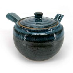 Japanese kyusu ceramic teapot with removable filter and enamelled interior, blue and brown - BURUENAMERU
