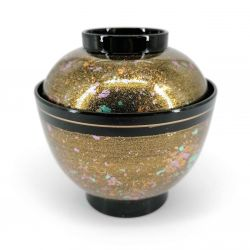 Japanese miso soup bowl in lacquered effect resin, with lid, black gold and glitter - KIRAKIRA