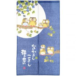 japanese blue noren curtain moon and owl 85 x 150 cm NAKAYOSHI KOYOSHI