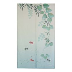 green japanese noren curtain in polyester, KINGYO, goldfish