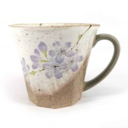 Tazza in ceramica giapponese con manico, beige e viola - SAKURA