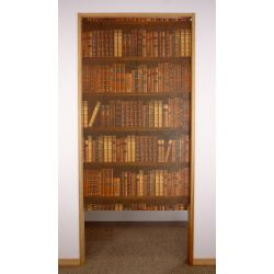 brown japanese noren curtain in polyester, BOOK SHELF, trompe-oeil