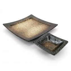 Square ceramic plate with sauce container for tempura - HEIHO