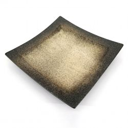 Japanese square plate in brown and beige ceramic - HEIHO