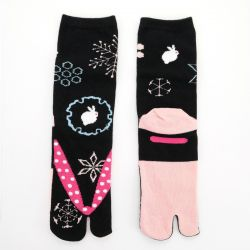 japanese cotton tabi socks, ZORI-YUKIWAUSAGI, black