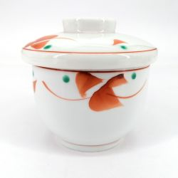 Japanese mug with lid chawan mushi white, red and green dots - POINTO