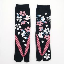 japanese cotton tabi socks, ZORI-YOZAKURA, black