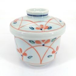 Japanese mug with chawan mushi lid, sky blue and red lines - SORAIRO