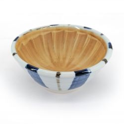 Small Japanese suribachi bowl in ceramic lines, blue and white - GYO