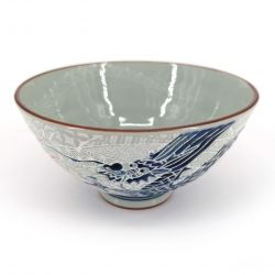 Japanese ceramic rice bowl, gray, blue and red - RYU