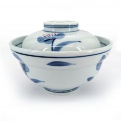 Japanese bowl with lid, white - blue flowers