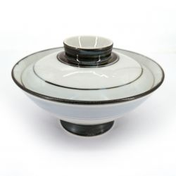 Japanese bowl with lid, white - blue and brown lines