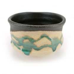 Bowl for Japanese tea ceremony in ceramic, black and beige with turquoise drips - TAKOIZU SHITATARI