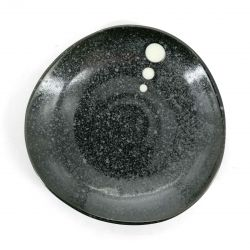 Small Japanese ceramic plate, black - POINTO