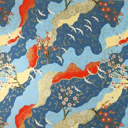 Japanese ceramic rice bowl, white and blue - FUKURO