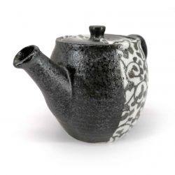 Japanese ceramic teapot with removable filter, black and arabesques - ARABESUKU