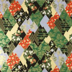 Teiera giapponese in ceramica kyusu con filtro e interno smaltato, cerchio floreale nero - HANA NO WA