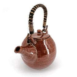 Japanese round ceramic teapot with bamboo handle and filter, brown, GIN GANRYO