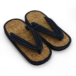 Pair of Japanese zori sandals in seagrass, DOT, blue
