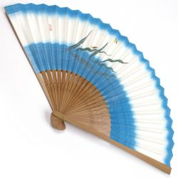japanese fan made of paper and bamboo, HOTARU, blue
