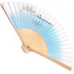 japanese fan made of paper and bamboo, FUNBITO, blue
