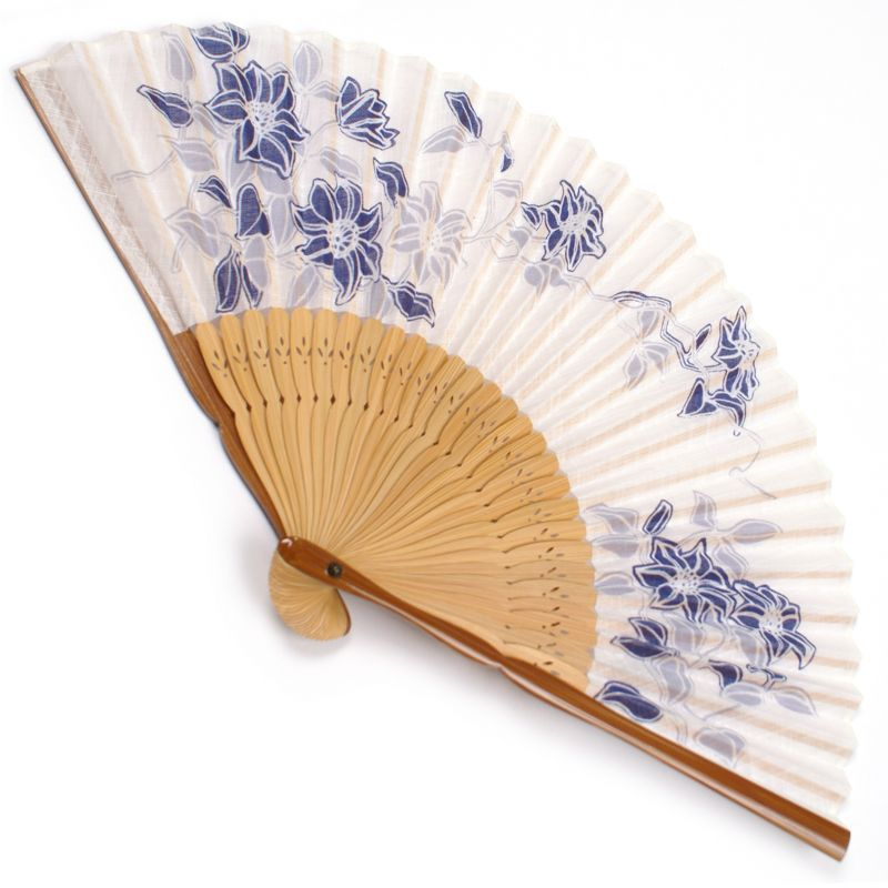 japanese fan in cotton and bamboo, TESSEN, blue