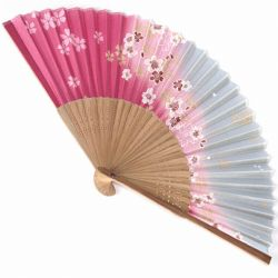 japanese fan made of silk and bamboo, SAKURA, gray and pink
