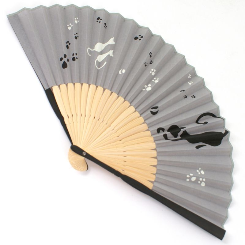 japanese fan in cotton and bamboo, NEKO, cats