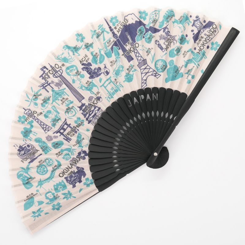 Japanese blue polyester and cotton fan, NIHONMEGURI, blue